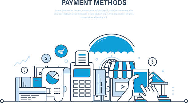 Methods and forms of payment,  cards, technology online payments. vector art illustration