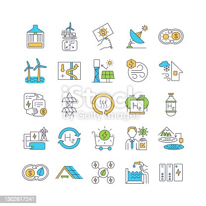 istock Methods of generating electricity not air pollution RGB color icons set 1302617241