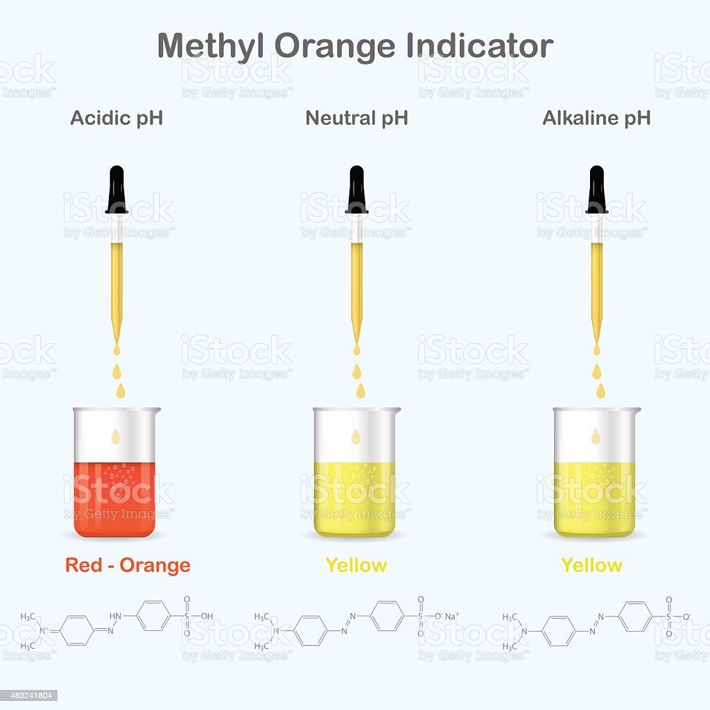 Methyl Orange Colors In Aqueous Media With Different Ph Stock Vector ... for Methyl Orange Indicator  285eri