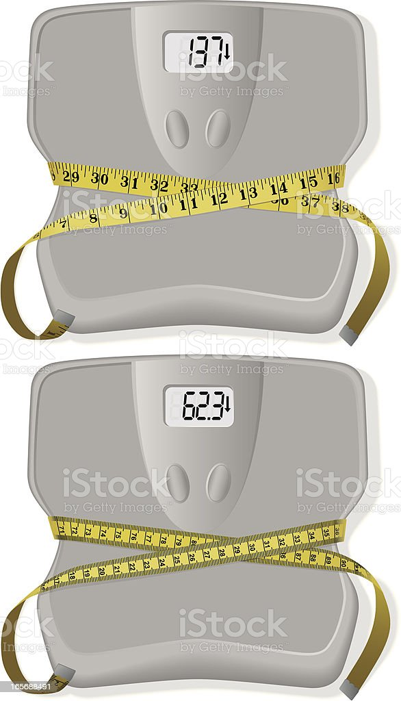 Metric and Imperial Bathroom Scales with Tape Measures royalty-free stock vector art