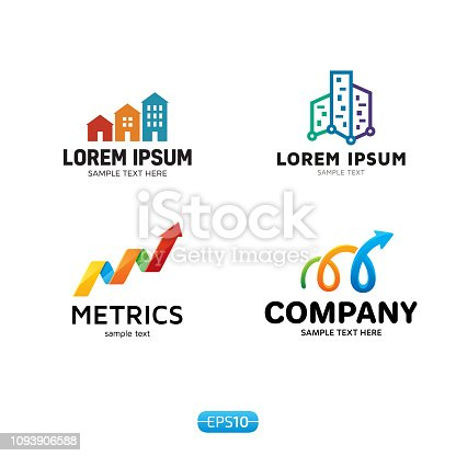 Metrics icon design template set. Vector colorful analytics icontype, sign and symbol. Statistics badge concept isolated on background. Graphic chart icon and geometric diagram stats illustration