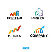 Metrics Analytics icon Vector Template Set