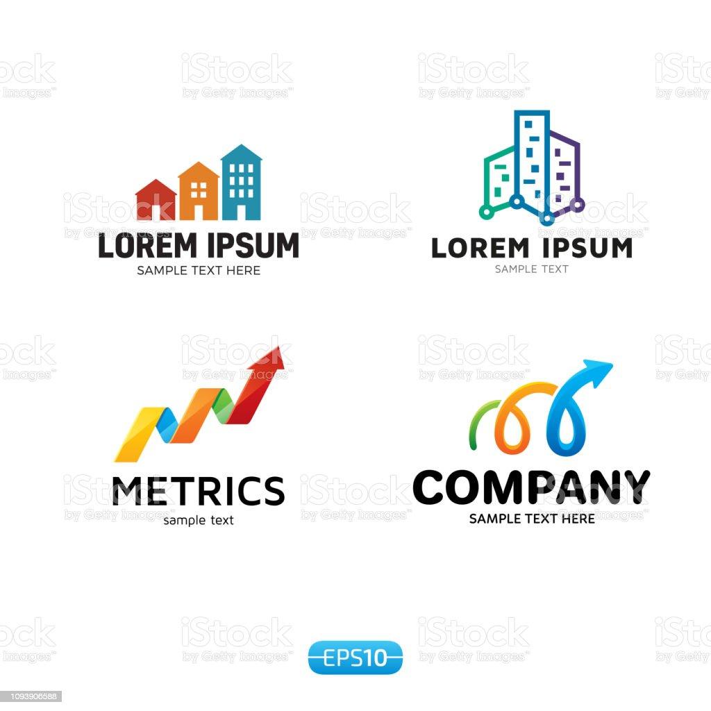 Metrics Analytics icon Vector Template Set vector art illustration