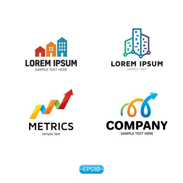 metrics analytics icon vector template set - real estate logos stock illustrations, clip art, cartoons, & icons