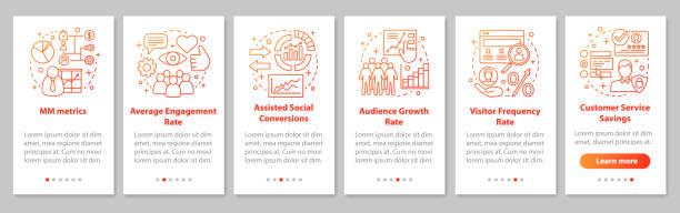 ilustraciones, imágenes clip art, dibujos animados e iconos de stock de métricas smm incorporación de la pantalla de página de la aplicación móvil con concep lineal - infografías de redes sociales