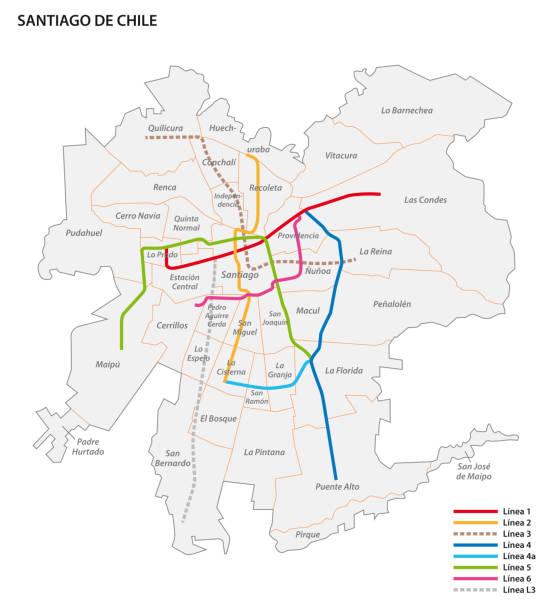 metro de santiago haritası - şili stock illustrations