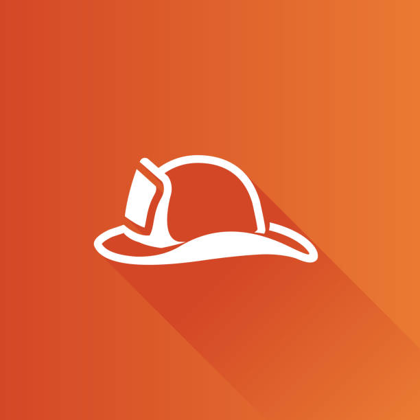 Metro Icon - Fireman hat Fireman hat icon in Metro user interface color style. Helmet firefighter equipment fire hose stock illustrations