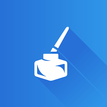 Ink pot icon with brush in Metro user interface color style.
