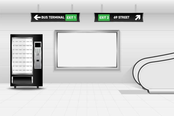 metro interior design and ticket vending machine, tube, underground, subway - empty vending machine stock illustrations