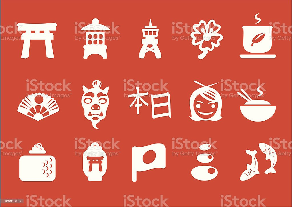 Metro Japan Icons royalty-free stock vector art