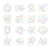 Metro Map Signs Color Thin Line Icon Set Transportation Concept Plan for City. Vector illustration of Subway