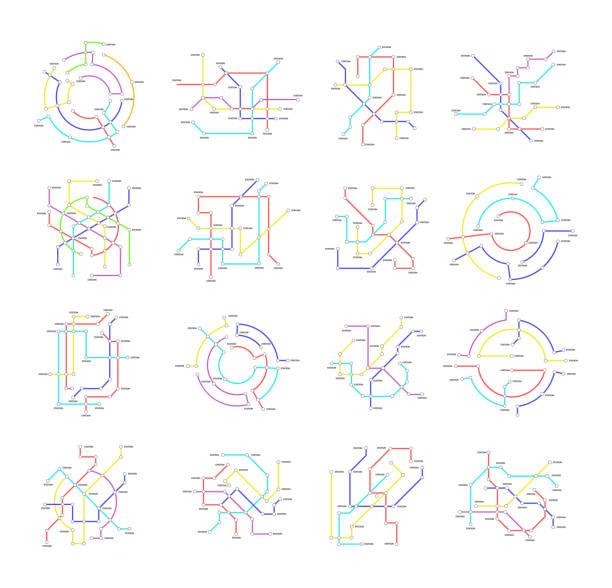 illustrations, cliparts, dessins animés et icônes de plan du métro signes couleur fine ligne jeu d'icônes. vector - métro