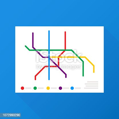 Metro Map Vector. Fictitious City Public Transport Scheme. Vector stock illustration.