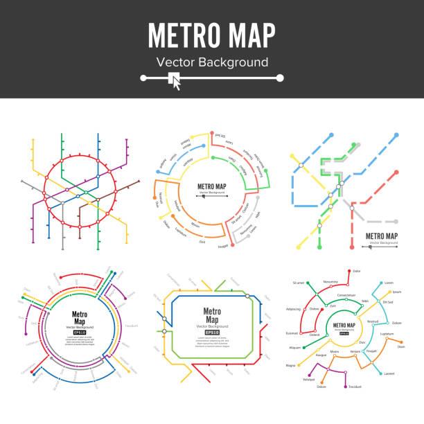 illustrations, cliparts, dessins animés et icônes de vecteur du plan du métro. illustration de régime métro plan carte station métro et de chemin de fer clandestin. fond coloré avec des stations - métro