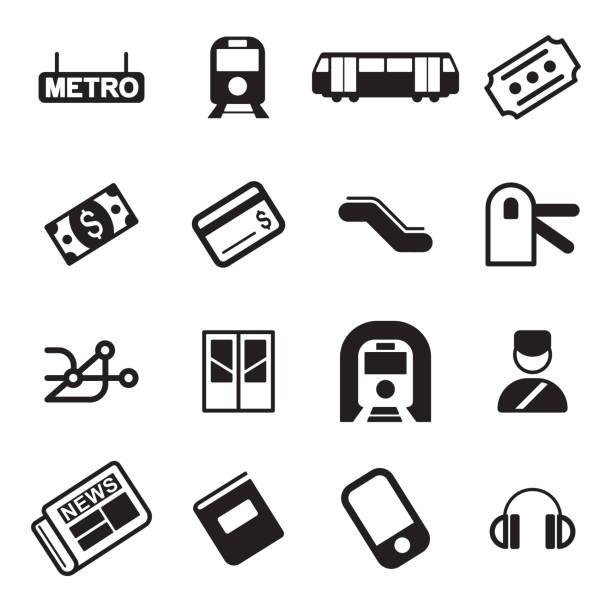 illustrazioni stock, clip art, cartoni animati e icone di tendenza di metropolitana o metropolitana icone - subway