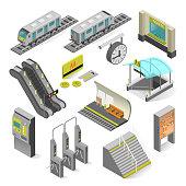 Metro station isometric. Subway station, railway rapid transit system, metro platform set and underground railway. Vector illustration