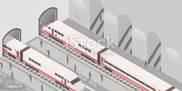 Subway station isometric vector illustration. Underground railroad, express city travel service, passenger conveyance business, public transport. People on platforms, arriving and departing trains