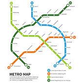 Metro, subway map vector template