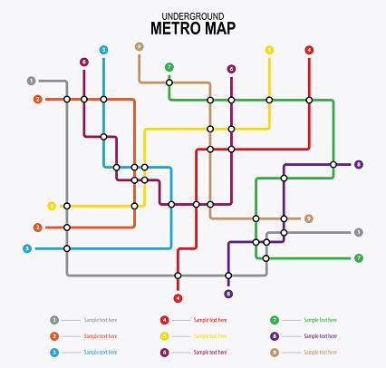 Metro underground map. City transportation vector Scheme.
