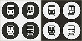 Metro - black and white vector icons. Round buttons for graphic and web design.