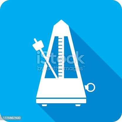 Vector illustration of a blue metronome icon in flat style.