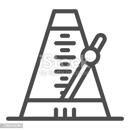 istock Metronome line icon, Sound design concept, music and beat mechanism sign on white background, Classic Metronome with pendulum icon in outline style for mobile and web. Vector graphics. 1283434264
