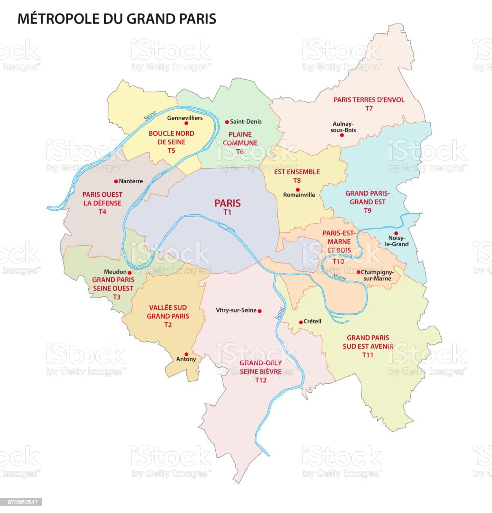 Map Of France Paris.Metropolis Of Greater Paris Administrative And Political Map France