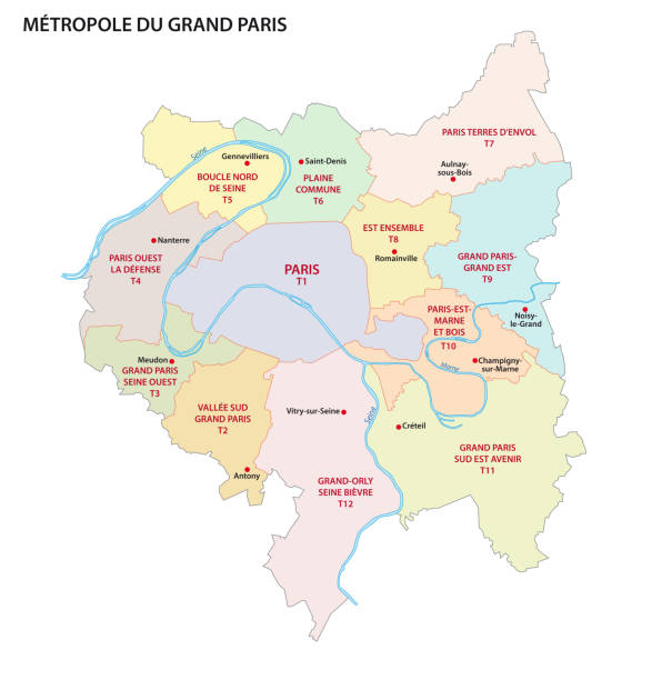 Metropolis of Greater Paris administrative and political map Metropolis of Greater Paris administrative and political vector map seine river stock illustrations