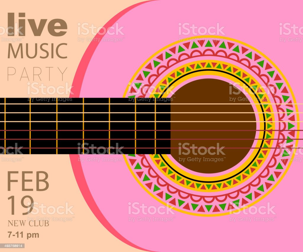 mexican acoustic guitar music background stock vector art more images of 2015 493758914 istock. Black Bedroom Furniture Sets. Home Design Ideas
