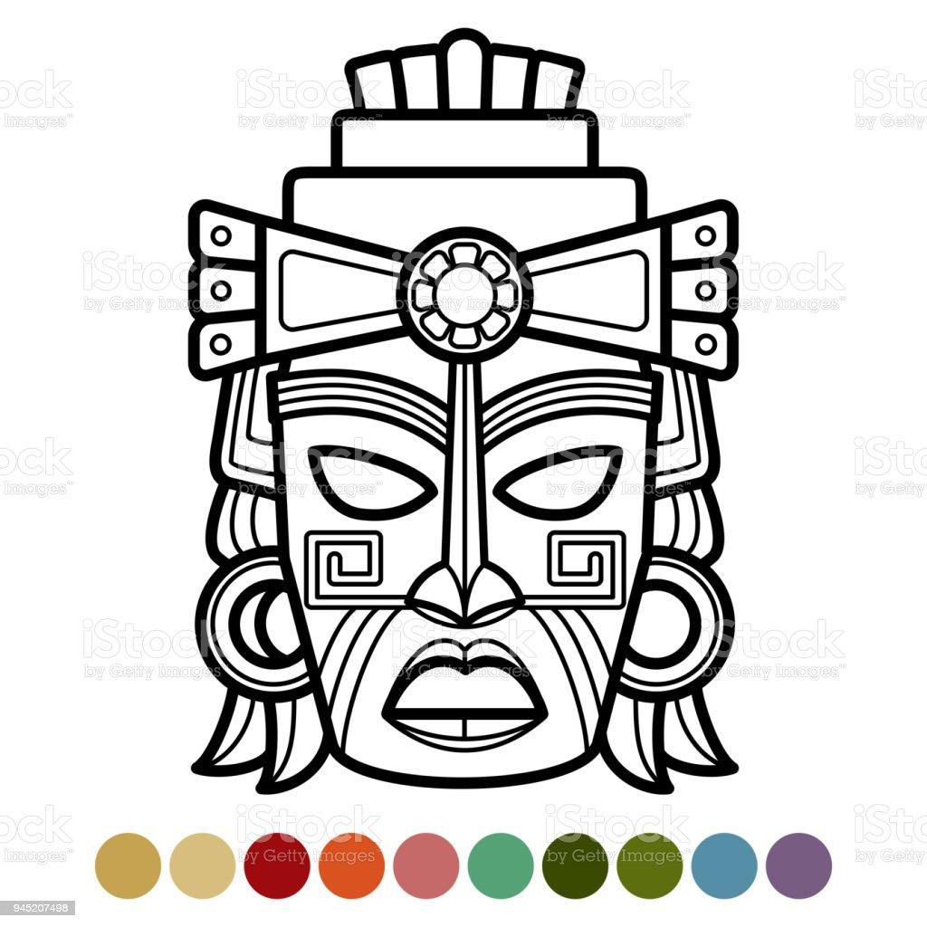 Mexicaanse Afrikaanse Azteekse Masker Kleurplaat Pagina Stockvectorkunst En Meer Beelden Van Abstract Istock
