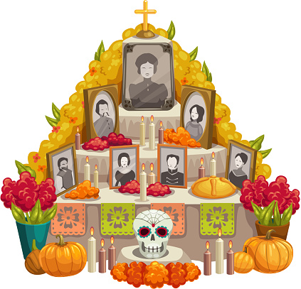 Mexican altar with deceased photos, skull, candles
