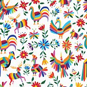 Mexican art pattern with animal and flowers