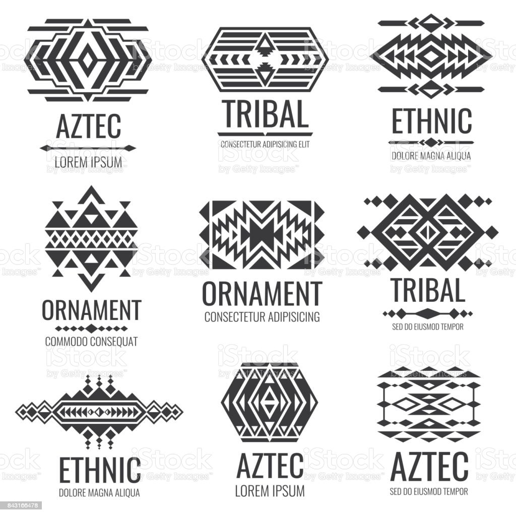 Mexican aztec symbols. Vintage tribal vector ornaments vector art illustration