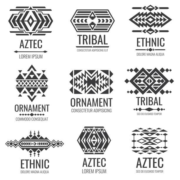 mexican aztec symbols. vintage tribal vector ornaments - tribal pattern stock illustrations, clip art, cartoons, & icons