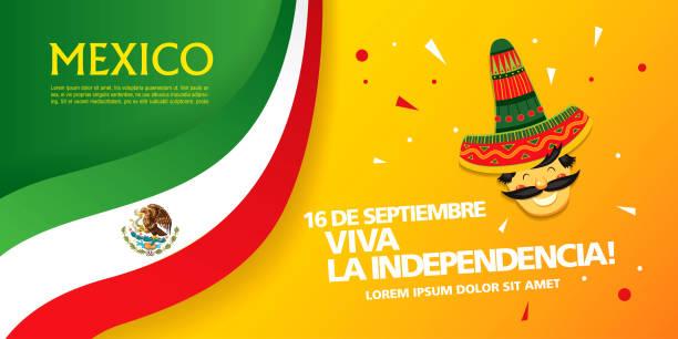 墨西哥橫幅佈局設計。維瓦墨西哥假期 - 獨立 幅插畫檔、美工圖案、卡通及圖標
