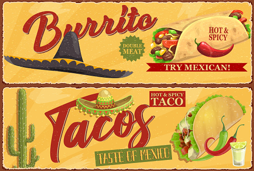Mexican burrito and tacos retro vector banners