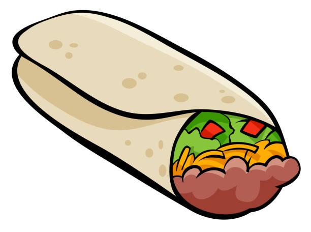 mexikanische burrito tortilla cartoon illustration - tortillas stock-grafiken, -clipart, -cartoons und -symbole