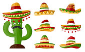 Mexican cartoon cactus with Set of sombreros with colourful ornaments art. Hat on isolated background for your design .Vector
