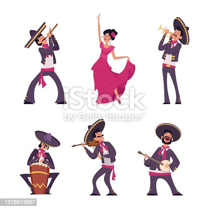istock Mexican characters. Traditional authentic hispanic mexican person male and female national clothes sombreros charros exact vector cartoon people 1318613557