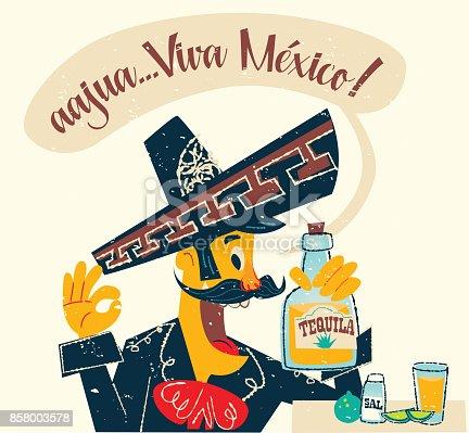 Mexican Charro drinking tequila in retro stile