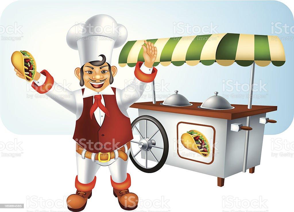 Mexican Chef with Burrito vector art illustration