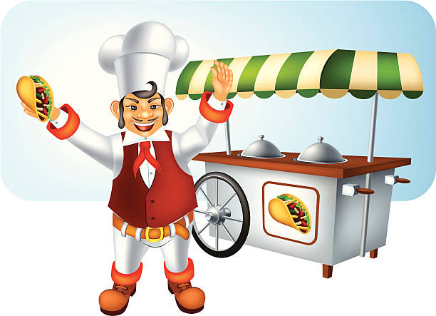 Mexican Chef with Burrito Mexican Chef with Burrito. Vector illustration done using Adobe Illustrator CS3. Vector-Based Illustration.High Resolution JPG,CS3 AI and Illustrator 0.8 EPS included.  mexican restaurant stock illustrations