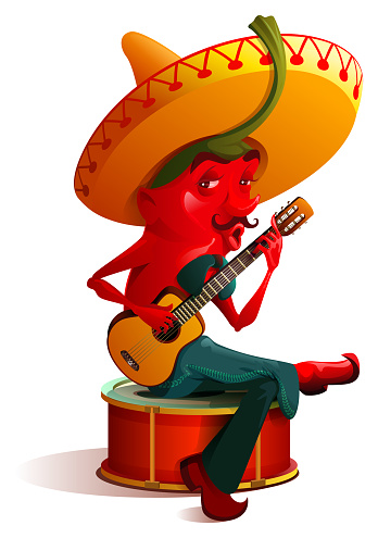 Mexican chili pepper character sombrero plays. Cinco de mayo holiday