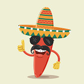 Mexican Chili Pepper Character with Sunglasses and Sombrero