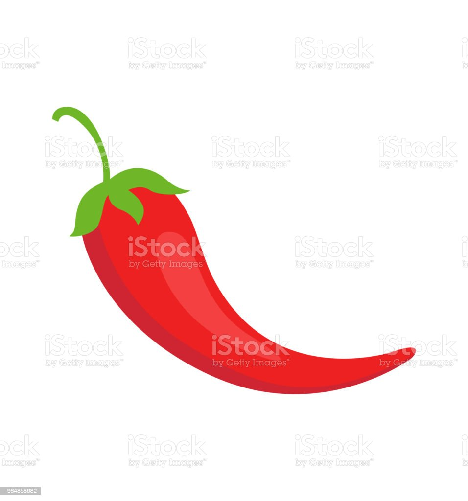 Mexican chili pepper red flat icon, vector illustration isolated on white