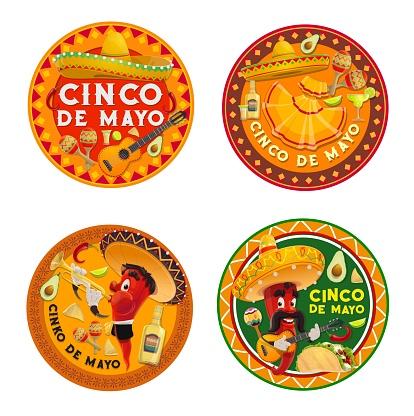 Mexican Cinco de Mayo chilli pepper characters
