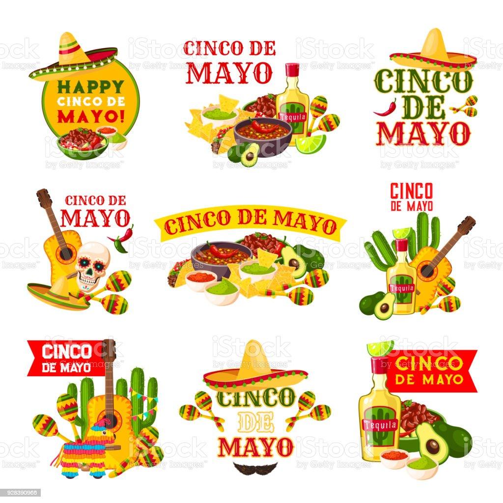 Mexican Cinco de Mayo fiesta party badge design vector art illustration