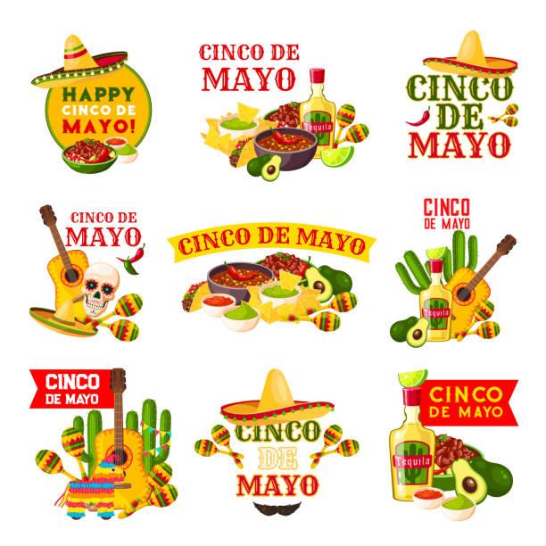 mexican cinco de mayo fiesta party badge design - cinco de may stock illustrations, clip art, cartoons, & icons