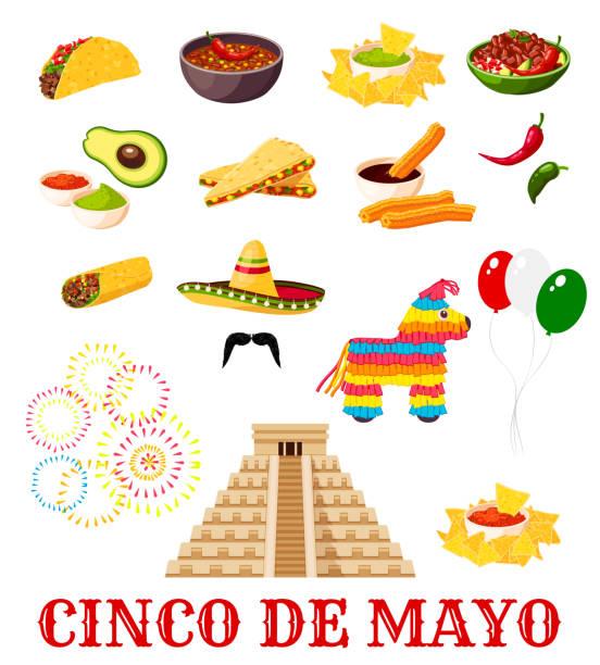 Icône de nourriture mexicaine Cinco de Mayo fiesta parti - Illustration vectorielle