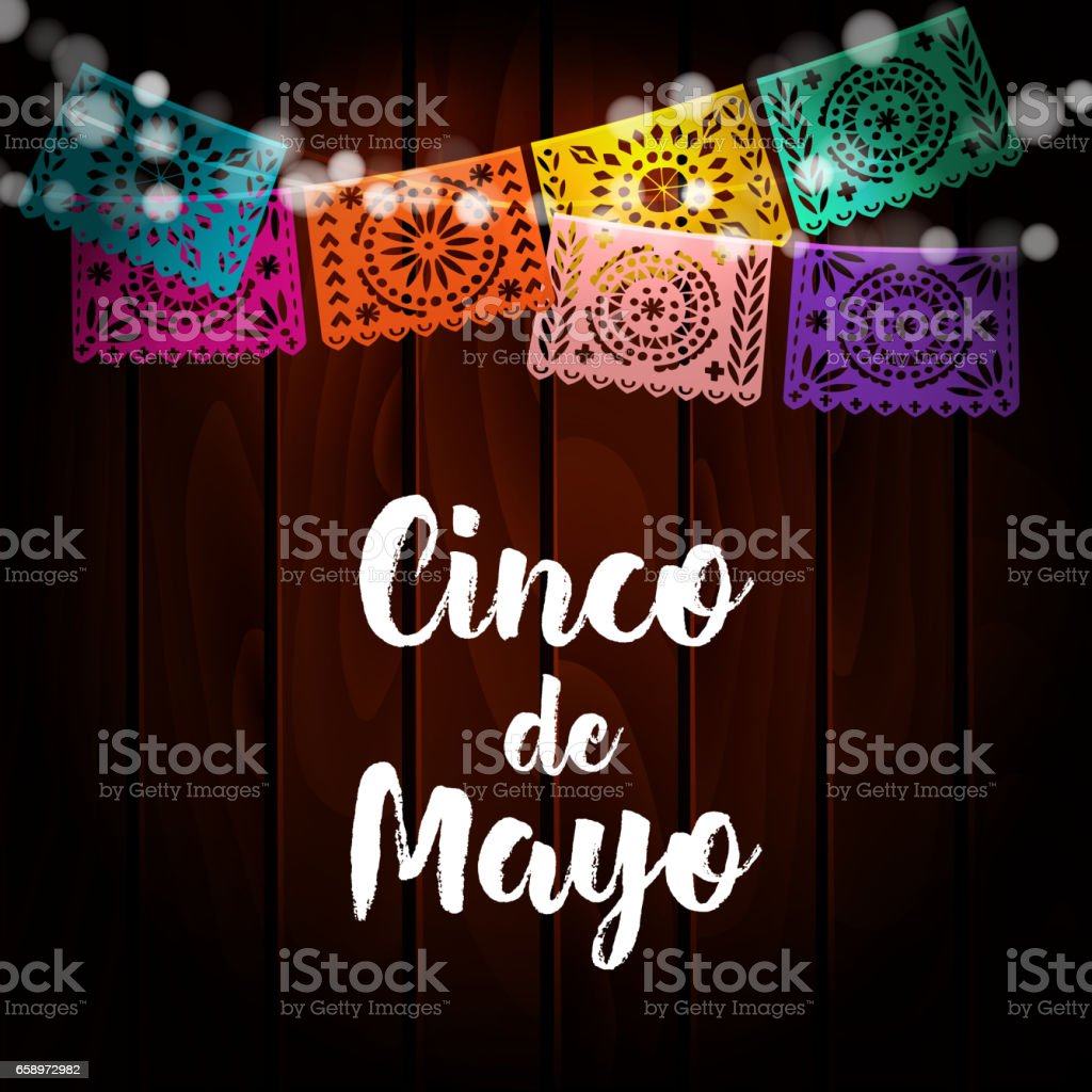 Mexican Cinco de Mayo greeting card, invitation. Party decoration, string of lights, handmade cut paper flags. Old wooden background. Vector illustration. vector art illustration